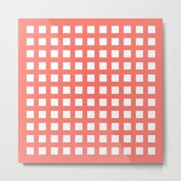 Retro thick coral grid pattern Metal Print