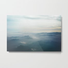 AERIAL PHOTOGRAPHY OF BLUE MOUNTAINS SURROUNDED BY FOGS UNDER WHITE SKY AT DAYTIME Metal Print