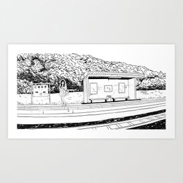 waiting for the train Art Print