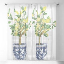 Lemon tree , watercolor painting Sheer Curtain