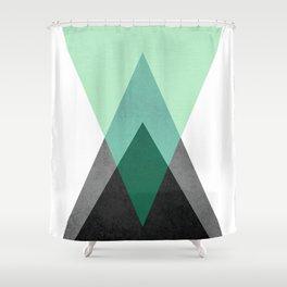 Green Geometric Print Shower Curtain
