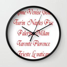 Italy's cities-Italy,Italia,Italian,Latine,Roma,venezia,venice,mediterreanean,Genoa,firenze Wall Clock
