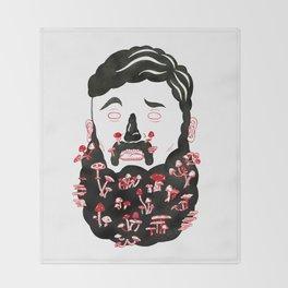 Mushroom Beard Dude Throw Blanket