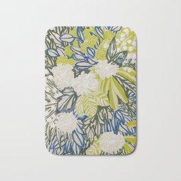White chrysanthemums -ink floral Bath Mat
