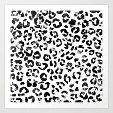 Modern black white marble stylish leopard pattern Art Print