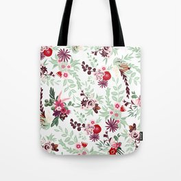 Abstract red pastel green pink country floral pattern Tote Bag