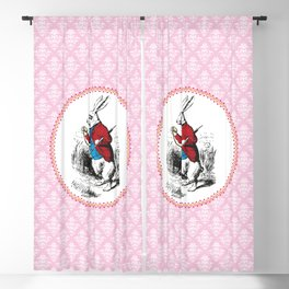Alice in Wonderland | The White Rabbit Checks the Time | Pink Damask Pattern | Blackout Curtain