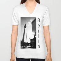 berlin V-neck T-shirts featuring Berlin by Falko Follert Art-FF77
