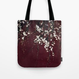 blossoms on ruby red Tote Bag