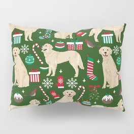 Golden Retriever festive christmas dog illustration pet portrait pet friendly gifts for dog breed Pillow Sham