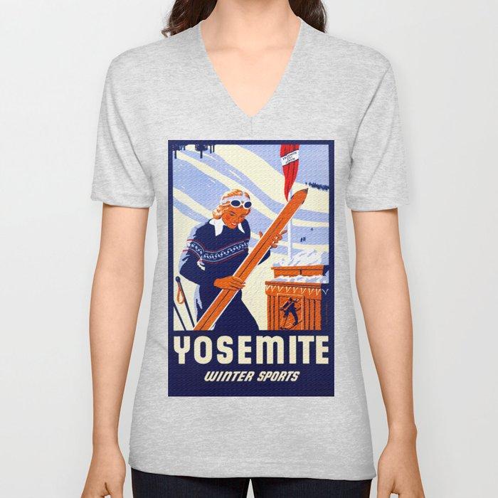 Yosemite Winter Sports Travel Unisex V-Neck