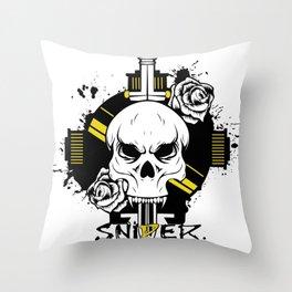 Sniper Skull Throw Pillow
