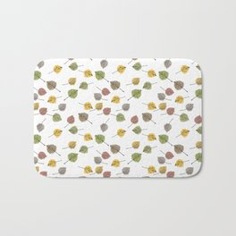 Colorado Aspen Tree Leaves Hand-painted Watercolors in Golden Autumn Shades on Clear Bath Mat
