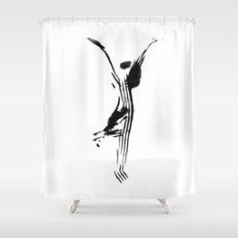 Black and white, minimalist, modern yoga pose illustration for yoga studio, yoga art, drawing, om Shower Curtain