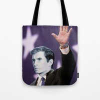 american psycho Tote Bags featuring American Psycho by Marko Köppe