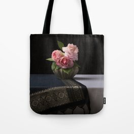 Roses and silk still life Tote Bag