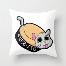Purr-ito Kitty Burrito Throw Pillow