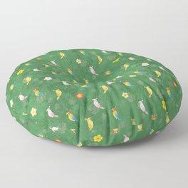 Tiki Birds - Green Pattern Floor Pillow