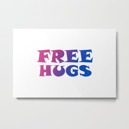 Pink and Blue Gradient Free Hugs Fun Typography Graphic Design Metal Print