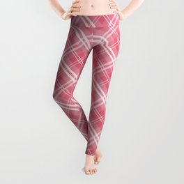 Nantucket Red and White Tartan Plaid Check Leggings