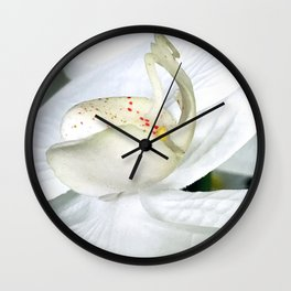 Ivory White Silk Flower Close-Up Photo Wall Clock