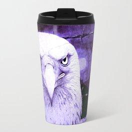 Art print: The Bald Eagle, the barbwire and the Blue flag Iris. Travel Mug