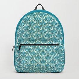 Teal and Ecru Damask Backpack