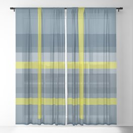Blue and yellow plaid pattern Sheer Curtain