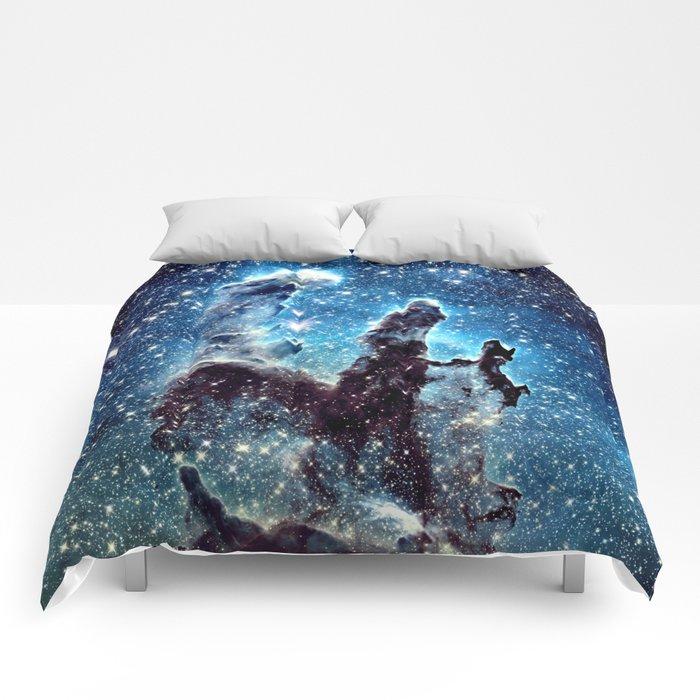 Pillars of Creation Nebula: Ocean Blue Galaxy Comforters