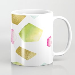 Watercolor Crystals | Gold, Pink and Green Coffee Mug