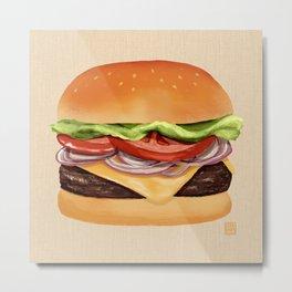 Burger Time - Digital Illustration Metal Print