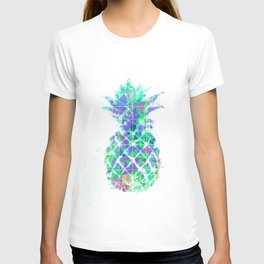 pineapple in green blue yellow with geometric triangle pattern abstract T-shirt