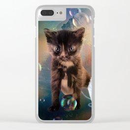 Playful cute black kitten Clear iPhone Case