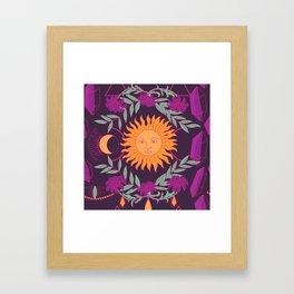 Mystic Night Sun and Moon Pattern Framed Art Print