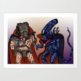 """Vampire Alien Vs. Vampire Predator"" (from Farts 'N' Crafts episode 7) Art Print"