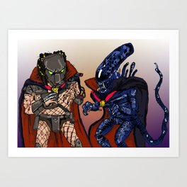 """Vampire Alien Vs. Vampire Predator"" (from Farts 'N' Crafts episode 7) Art Print"