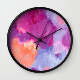 Red Lips and Rosy Cheeks, Magenta, Coral, Light Blue Abstract Art Wall Clock