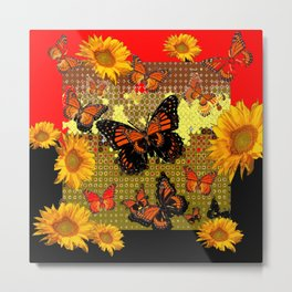 Two Color Abstracted Black-Red  & Orange Monarch Butterflies Metal Print