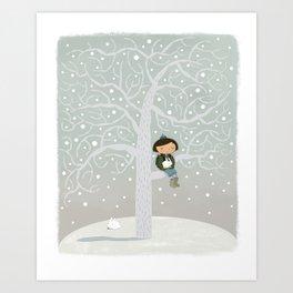 Winter Tree Girl  Art Print