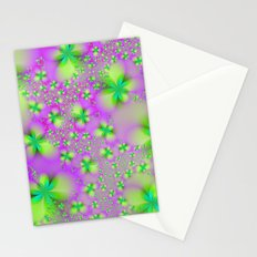 Green Yelow and Pink Abstract Flowers Stationery Cards