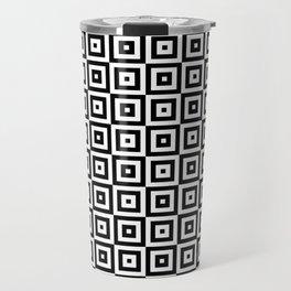 Black & White Geometric Square Pattern Travel Mug