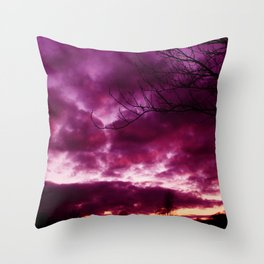 Moody Purple Sky Throw Pillow