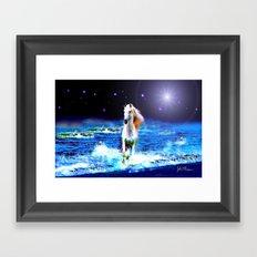 White Horse on the Starry Beach Framed Art Print
