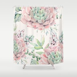 Pink Succulents on Cream Shower Curtain