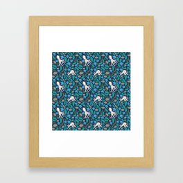 Octopus Nautical Marine Pattern Framed Art Print