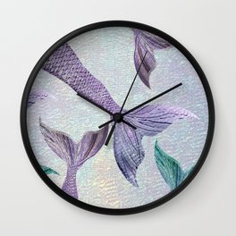 Amethyst and Teal Mermaid Tails Wall Clock