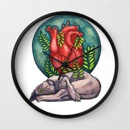 Watercolor cat sphinx and big heart Wall Clock