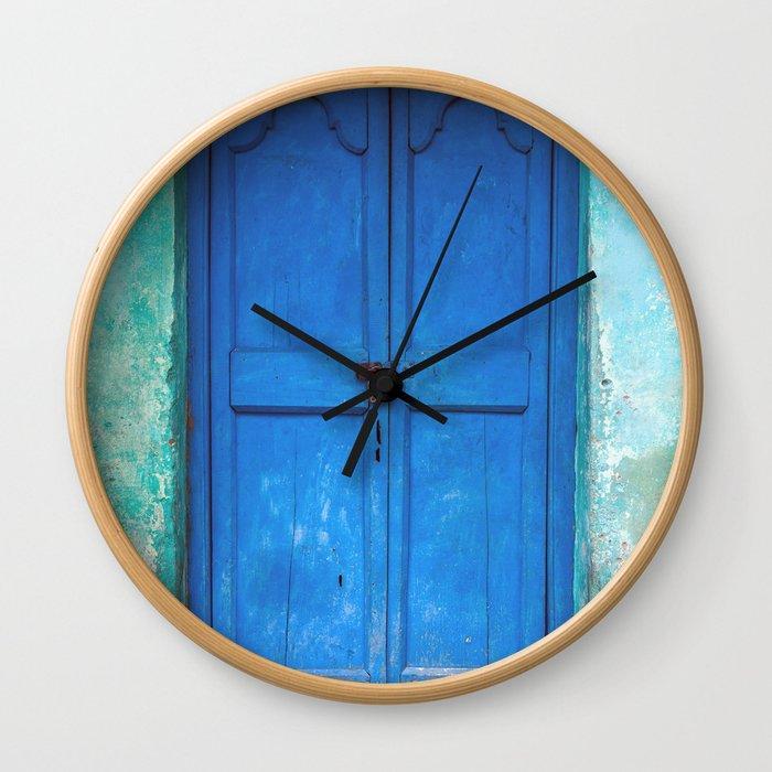 Blue Indian Door Wall Clock