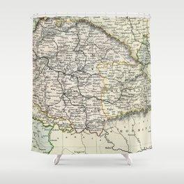 Vintage Map of Austria Shower Curtain