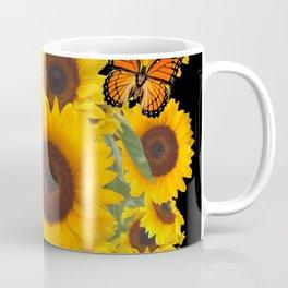 SUNFLOWER & MONARCHS IN BLACK ART Coffee Mug